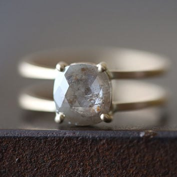 Natural Rose Cut Champagne Cushion Diamond Ring