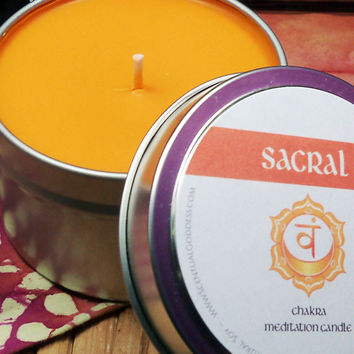 SACRAL CHAKRA CANDLE - Creative Self-Expression Passion Divine Femine Sexuality