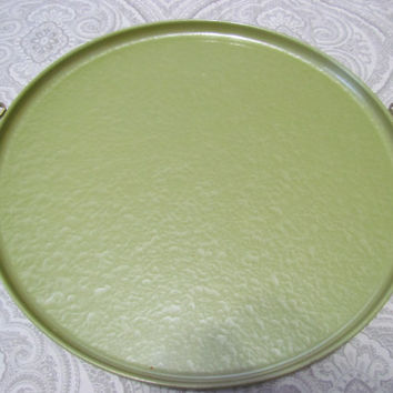 Mid Century Moire Glaze Kyes Olive Green Serving Tray