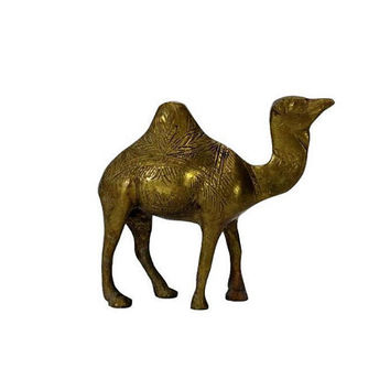 Vintage Brass Camel Figurine Arabian Animal Decor Etched Dromedary Statue Safari Desert Boho Chic Nature Dessert Patina