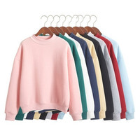 Plain Hoodies Warm Sweatshirt Plus Size Solid Color Pullover