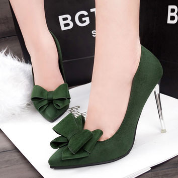 Big Butterfly Bow Suede Heels