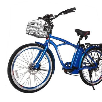 X-Treme Newport Elite 24 Volt Electric Beach Cruiser Bicycle Bike Metallic Blue