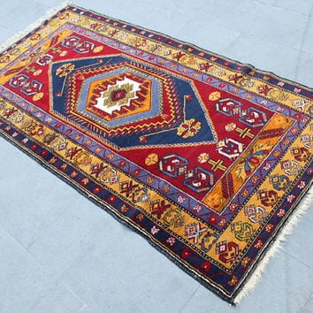"Turkish Rug Carpet, Vintage Turkish  Area Red Rug Carpet, Anatolian Bohemian Wool Rug Carpet, Blue Yellow Oushak Area Rug 190x100cm,76""x40"""