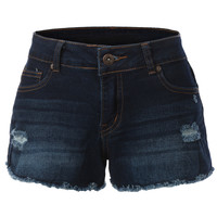LE3NO Womens Classic Denim Jean Frayed Hem Shorts