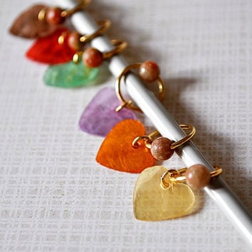 Handmade Stitch Markers Gold Plated Beaded Colorful Capiz Shell Hearts Quantity of 6