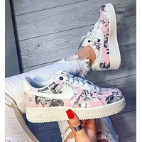 Nike Air Force 1 AF1 White ash flower Gym shoes