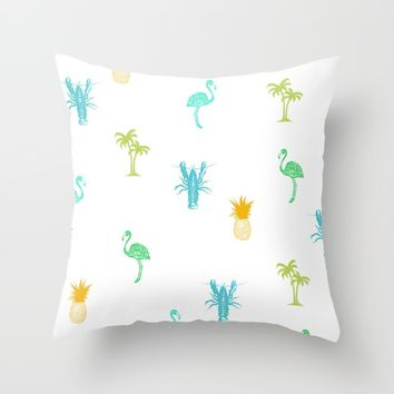 Tropical Delight (orange) Throw Pillow by The Wallpaper Files
