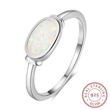 Oval Opal Stone Classic 925 Sterling Silver Rings For Women Trendy Party Jewelry Birthday Gift For Girls (RI103294)