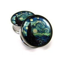 Starry Night Picture Plugs gauges  00g 1/2 by mysticmetalsorganics