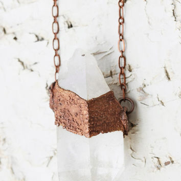 Raw Crystal Pendant Necklace: raw crystal necklace, crystal point necklace, rough quartz jewelry, raw crystal electroformed jewelry, popular