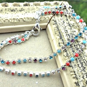 Preciosa Rhinestone Chain purple, coral, blue, turquoise crystal, silver metal bracelet. Shiny, sparkly jewelry. Wedding, bridal, everyday.