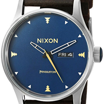 Nixon Men's 'Sentry Leather' Quartz Metal and Cloth Automatic Watch Multi Color (Model: A1052615-00)