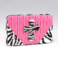 Croco Textured Wallet w/ Zebra Trim and Rhinestone Cross - Hot Pink Color: Hot Pink