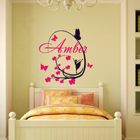 Girl Name Wall Decals Kids Vinyl Decal Ballerina Personalized Custom Sticker Nursery Bedroom Decor T3
