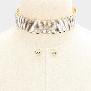 "13"" gold crystal layered collar choker necklace .40"" earrings 1"" wide bridal"