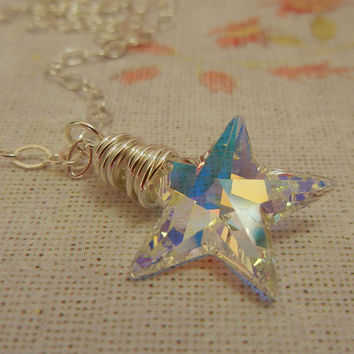 Crystal Star Necklace, Star Pendant, Swarovski Crystal, Sterling Silver, Aurora Borealis, Wire Wrapped