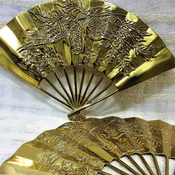 Brass Fans Asian Solid Pair Phoenix Bird Dragon Vintage 1970 Handcrafted blm