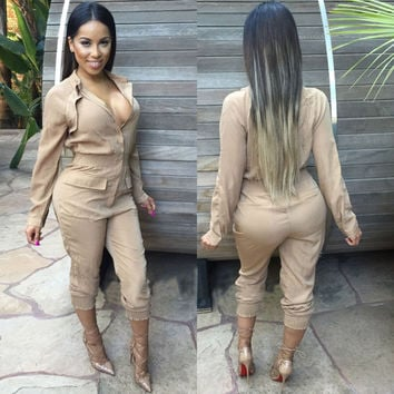 Long Sleeves Elastic Waist Lapel Jumpsuit
