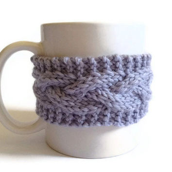 Mug Cozy Coffee Cozy Coffee Sleeve Cup Cozy Cable Knit in Lilac