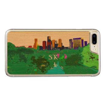 Colorful Houston Downtown Skyline Monogram Carved iPhone 7 Plus Case