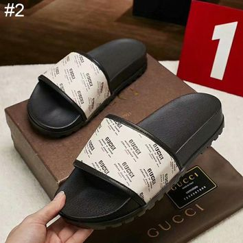 GUCCI new men's printed letter logo leather stitching sandals and slippers #2