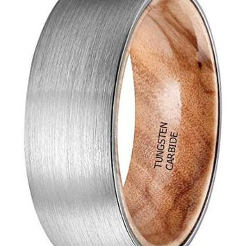 CERTIFIED 8MM Nature Tungsten Carbide Brushed Dome Band with Wood