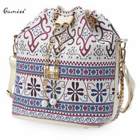 Bohemia Canvas Drawstring Bucket Bag Shoulder Handbags Lady Faux Pearl Letter Bucket Multi Purposes Tote Shoulder Crossbody Bag