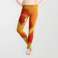 Flame Colored Rose Leggings by Blooming Vine Design