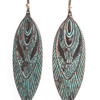 Nata Earrings, Tribal Boho Antique Green Copper Vintage Earrings