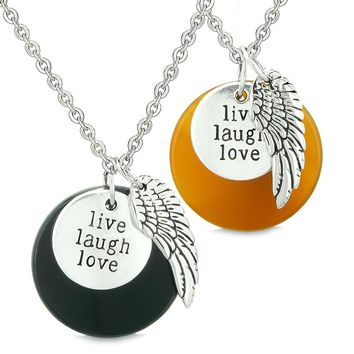Guardian Angel Wing Live Laugh Love Inspirational Amulet Couples Black Agate Carnelian Necklaces