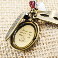 "Phantom of the Opera - Broadway Jewelry - Quote Locket - Womens Locket - ""Music of the Night"""
