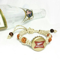 Beer Bottle Cap Macrame Bracelets/Unisex Boho Hippie Jewelry/Friendship Bracelets/Miller High Life Beer