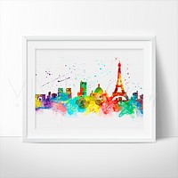 Paris Skyline 3 Watercolor Art Print