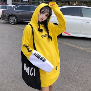 Japanese Retro Letter Print Yellow Hoodies Preppy Style Long Sleeve Hoodie Women Korean Fashion Streetwear Pullover Sweatshirt