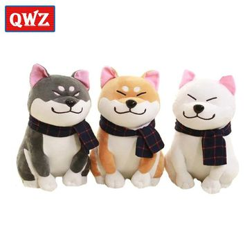 QWZ1pcs 25cm Cute Wear Scarf Shiba Inu Dog Plush Toy Soft Animal Stuffed Toy Smile Akita Dog Doll for Lovers Kids Birthday Gift