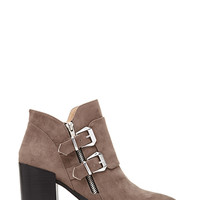 Buckled Faux Suede Booties