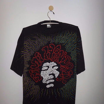 Vintage Jimi Hendrix Love Or Confusion T Shirt Winterland Rock Full Print Rock & Roll Unique Pop Art Tee