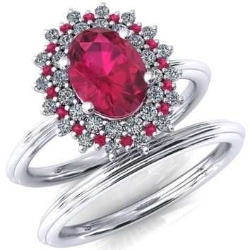 Eridanus Oval Lab-Created Ruby Cluster Diamond and Ruby Halo Wedding Ring ver.1