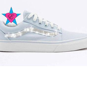 Custom Crystal Bling Rhinestone Pale Blue Vans