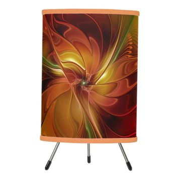 Abstract Red Orange Brown Green Fractal Art Flower Tripod Lamp