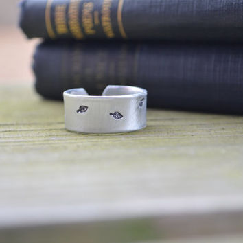 Tiny Leaves Ring - Leaves - Rustic - Modern - Metal - Adjustable - Looks Like Silver - Hand stamped - Aluminum - Under 20