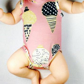 Baby ice cream bodysuit, organic baby bodysuit, baby girl Onesuit, organic baby clothing, baby tank top, Ready to ship in size 0 - 3 months