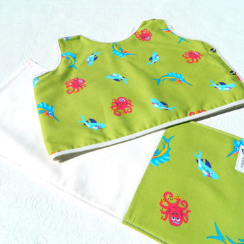 Baby Gift Set Bib and Burp Cloth Sealife Fish Theme 6 by maddywear