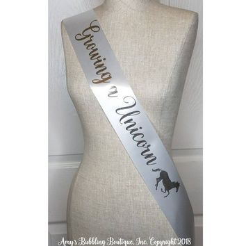 Growing a Unicorn Sash, Custom Made Baby Shower Sash for mommy to be to wear at Baby Shower or Baby Sprinkle, Comes with a Rhinestone Pin