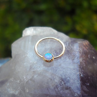 Blue Opal Septum Ring/Nose ring 14K Yellow Gold Filled Handcrafted