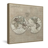 World Map (Taupe) Canvas Wall Art