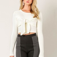 Can Knot Even Crop Sweater in Ivory