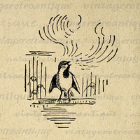 Printable Graphic Bird Song Image Singing Bird Download Illustration Digital Antique Clip Art for Transfers etc HQ 300dpi No.867