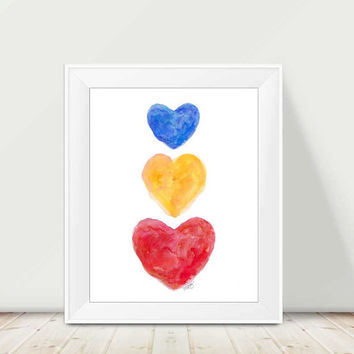 Playroom Decor, Primary Color Nursery Art, 11x14 Watercolor Print, Playroom Art, Red Yellow Blue, Kids Decor, Primary Color Art,Teacher Gift